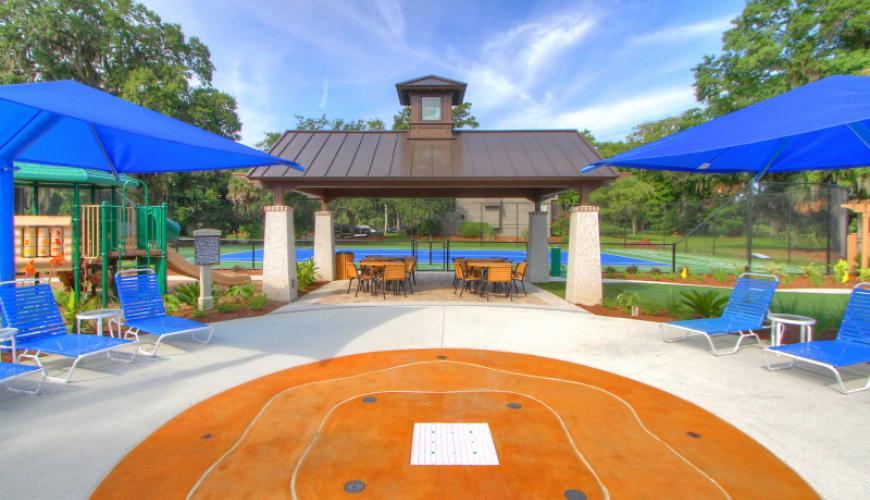 Splash pad by pool area