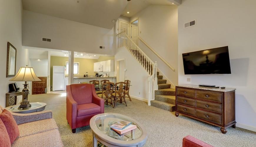 Living Room Area with Cable TV and Sleeper Sofa