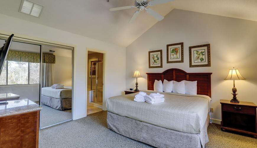 Bedroom #1 with King Bed and Vaulted Ceilings