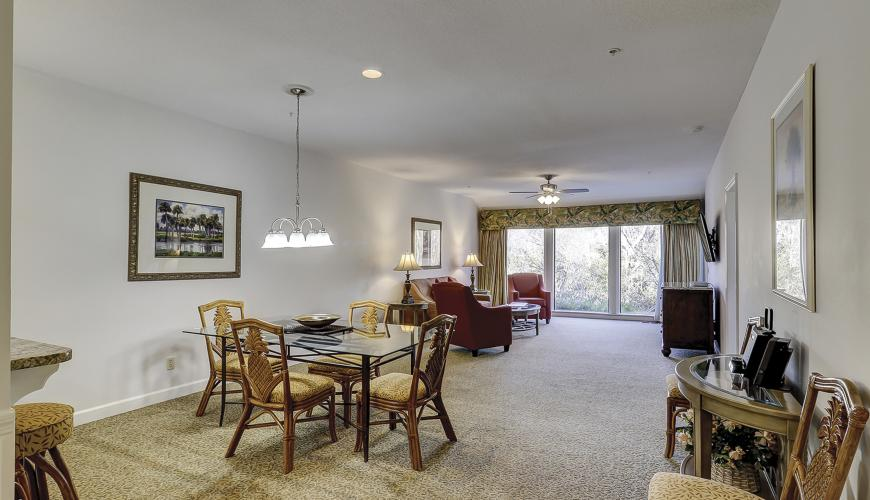 Open dining area into living room