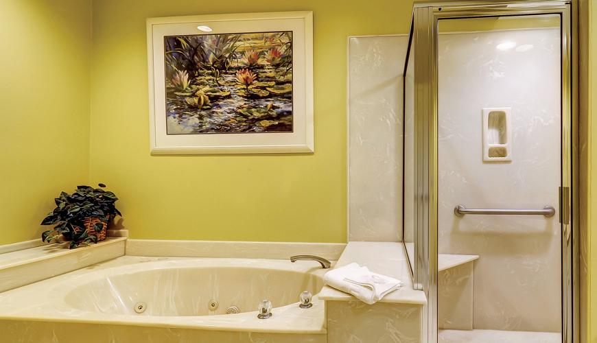 Master bath with separate shower and jetted tub