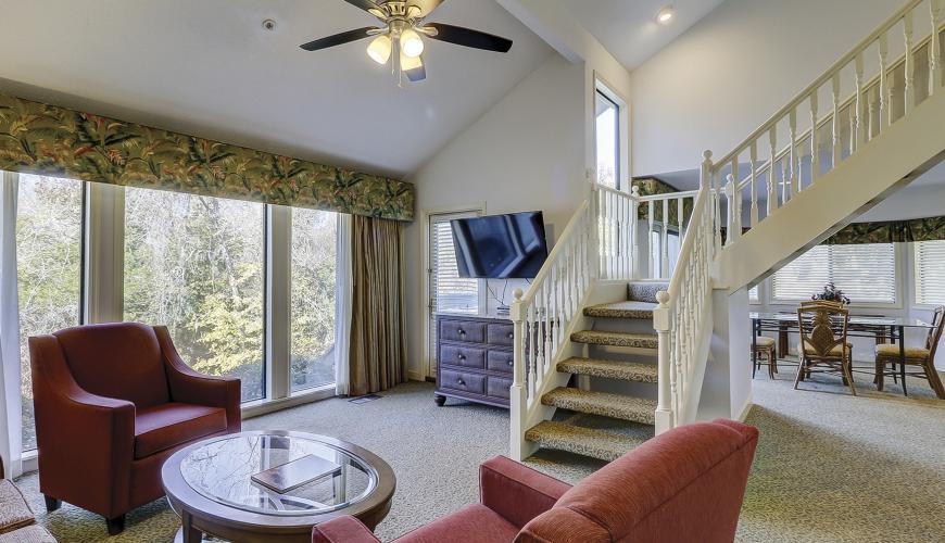 Living room area with sleeper sofa