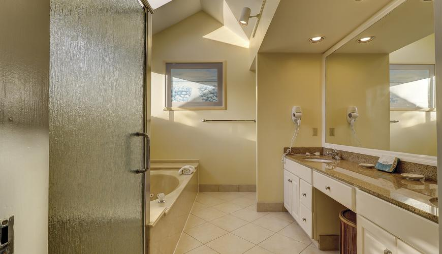 Master bath with granite counters, jetted tub, separate showers